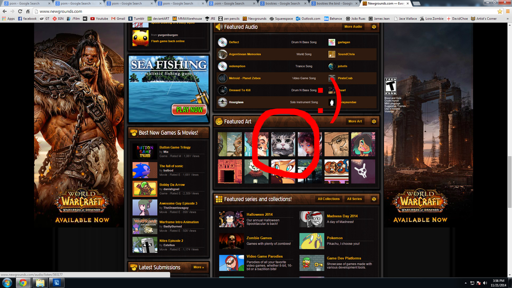 The time i got frontpaged on newgrounds. Years ago in highschool, I drew these half naked girls in hopes that it would get me Newgrounds famous. I knew two things about newgrounds: it was filled with horrible, horrible people (like me), and they loved boobs. I never made the front page.   I should've known; on the internet, cats always trump boobs