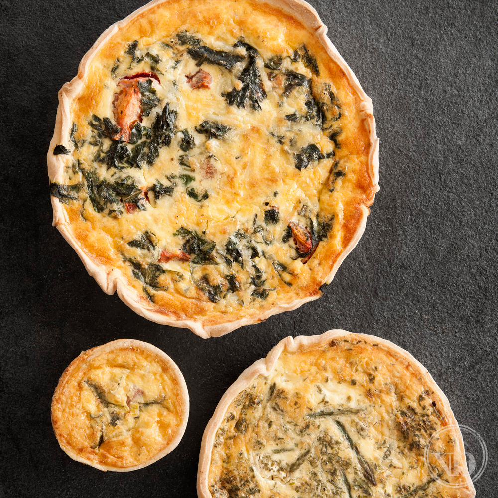 Family size, Individual size and Cocktail size Quiches