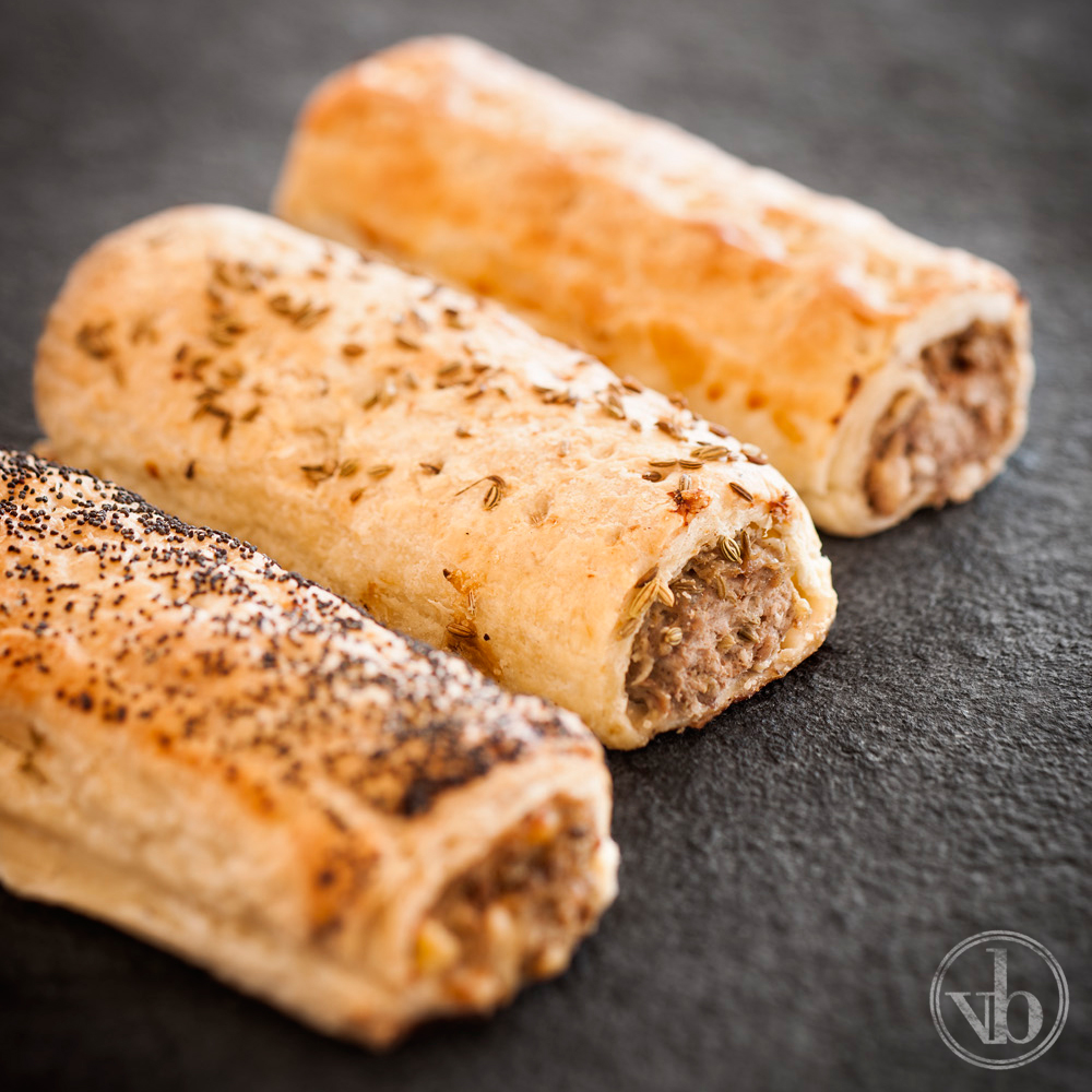 Trio of Sausage Rolls: Pork and Fennel, Beef and Bacon, & Traditional