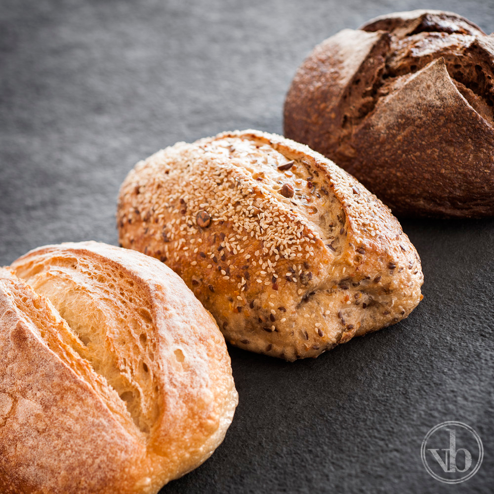 Trio of Sourdough Breads: Traditional White, Dark Rye and Soy & Linseed