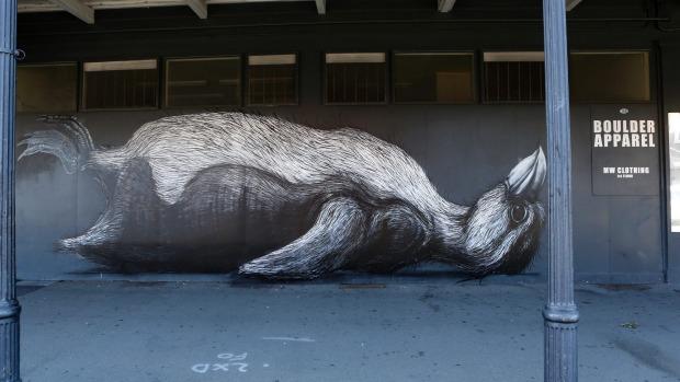 ROA's mural of a penguin on the Boulder Apparel building on Bridge Street.Marion van Dijk / Fairfax NZ
