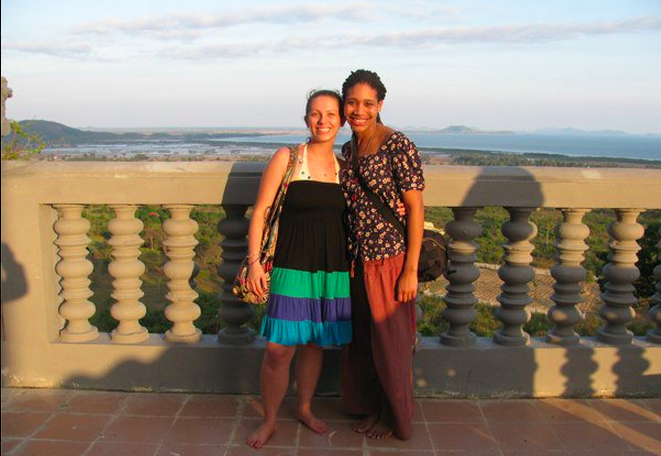 Morgane and Bethany in Cambodia.