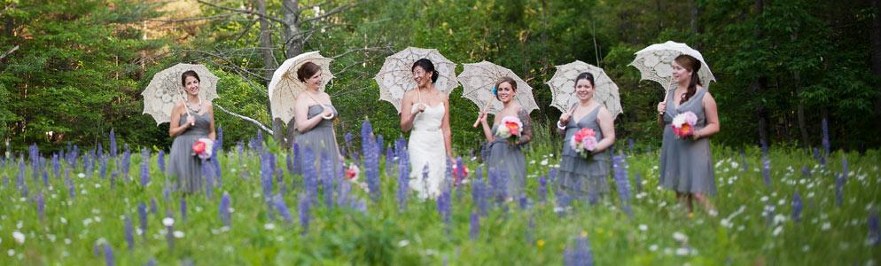 Vermont Wedding bridesmaids in field