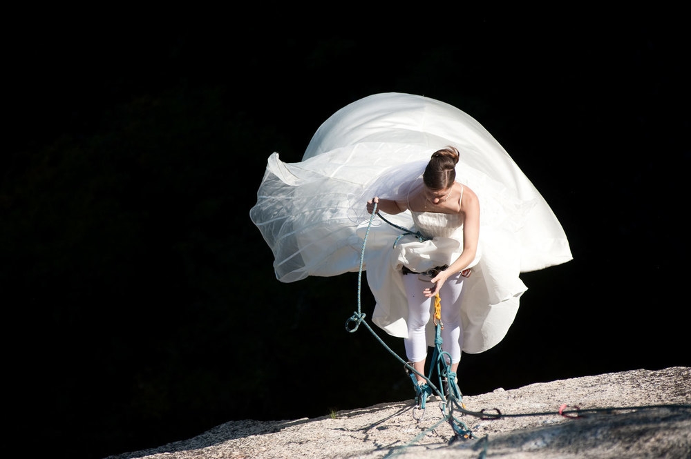 rock climber wedding - Cathedral Ledge, North Conway, NH