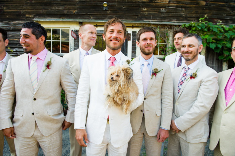 hipster chic groom with cute dog