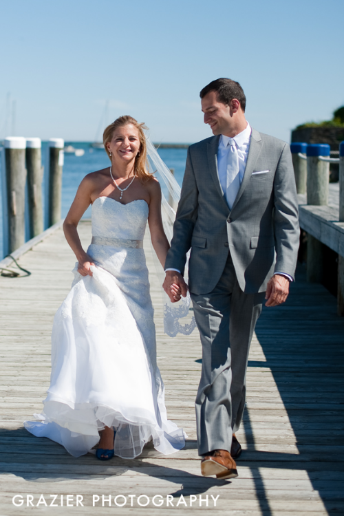 Abbey and Jared enjoying a few minutes together before their wedding ceremony at  Wychmere Beach Club .