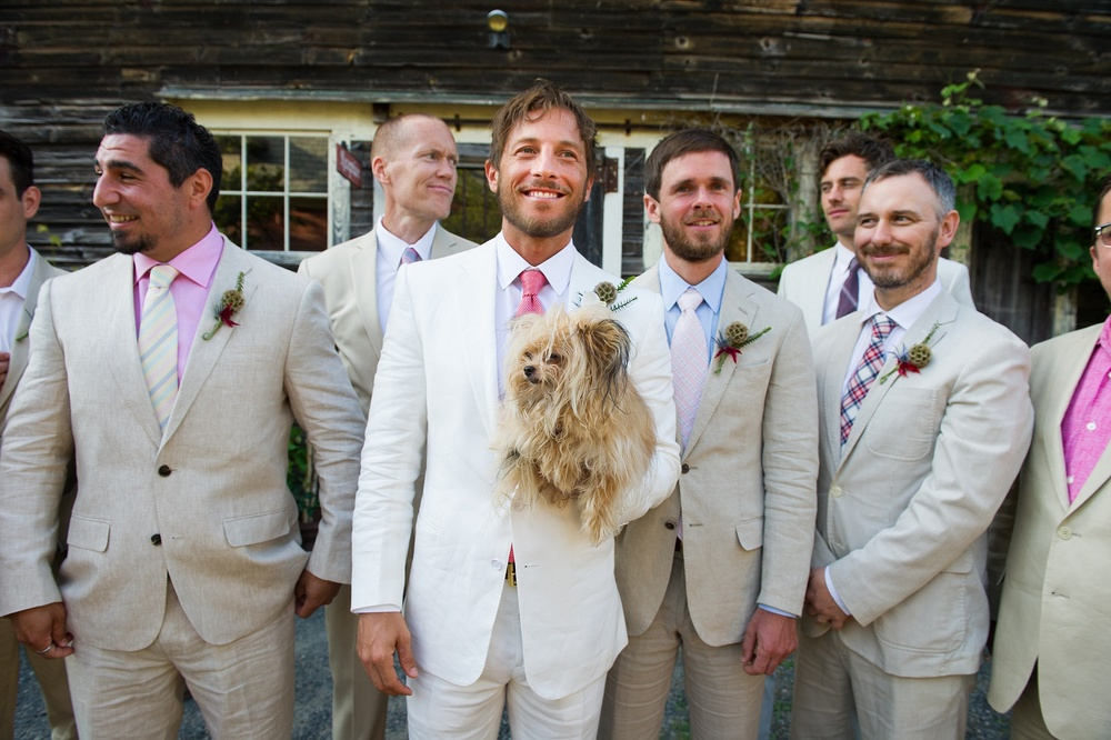 A Gedney Farm Wedding Ultracool Groom In White Linen Suit Grooms Party