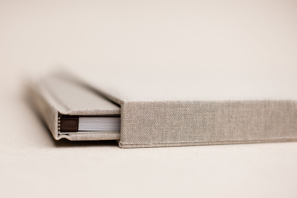 Detail of Oyster Natural Linen Slip Case