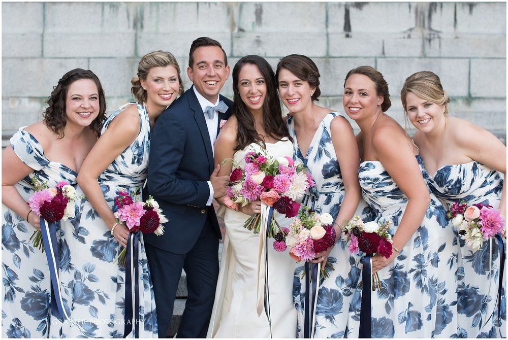 blue and white floral bridesmaid dresses Cape Cod