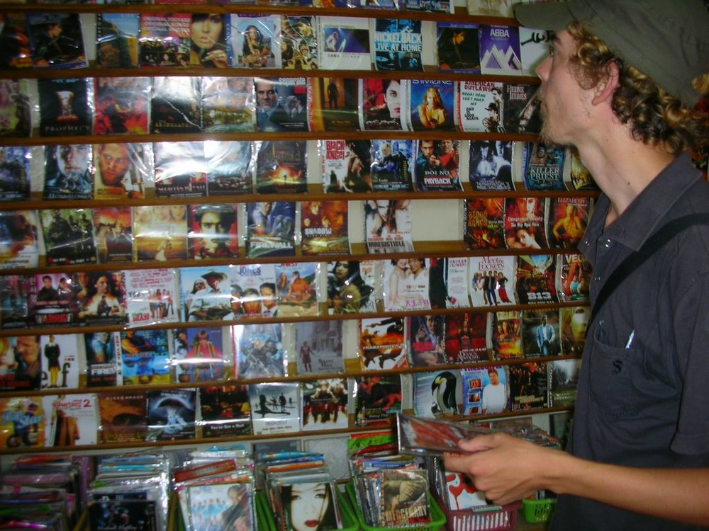 This is Paul in DVD heaven in Hanoi