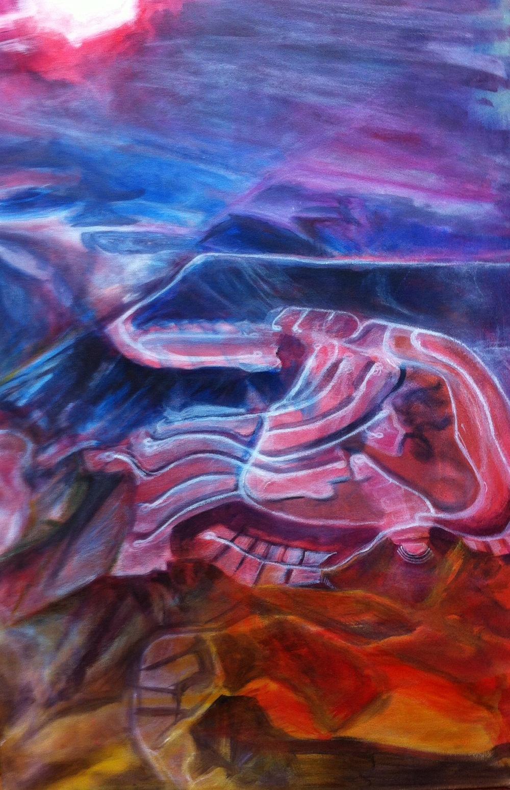 Outside Las Vegas acrylic L. Merriman - in progress -