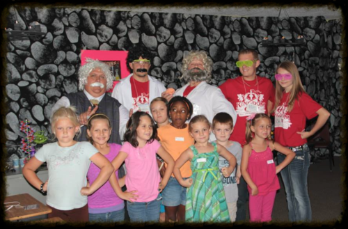 Our team in the Imagination Station at Kingdom Rock with some kids from the First Grade Group.