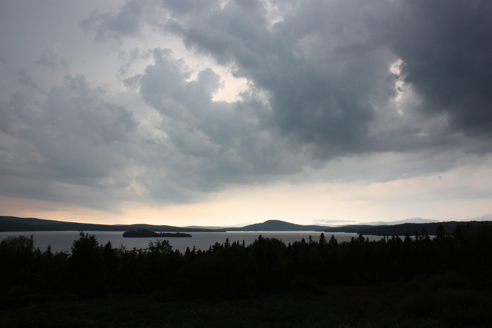 Storm clouds over Rangeley Lake, Maine.