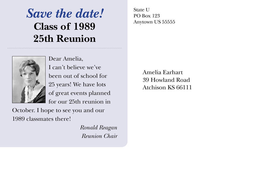 The postcard back for Amelia Earhart '89. Note the changes in class year and reunion.