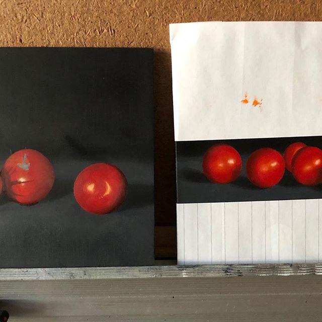 "Works in progress. 5x5"". Oil on panel."