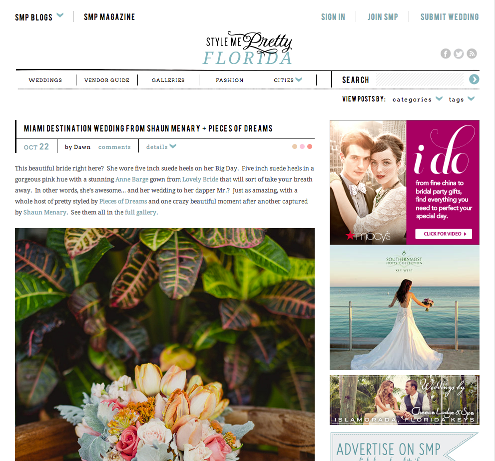 Samantha & Scott's South Beach Miami wedding featured on Style Me Pretty!