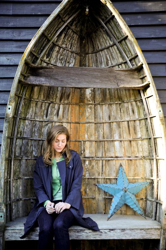 Parka by Nicole Farhi, boat by Baileys Home & Garden