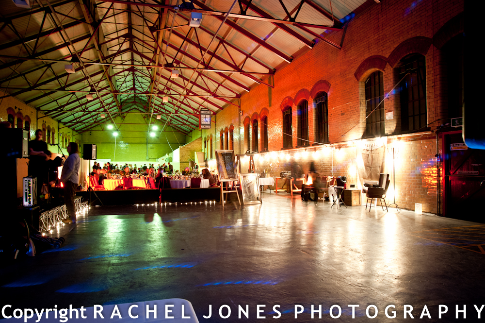 The warehouse gets a party makeover for the wedding breakfast.