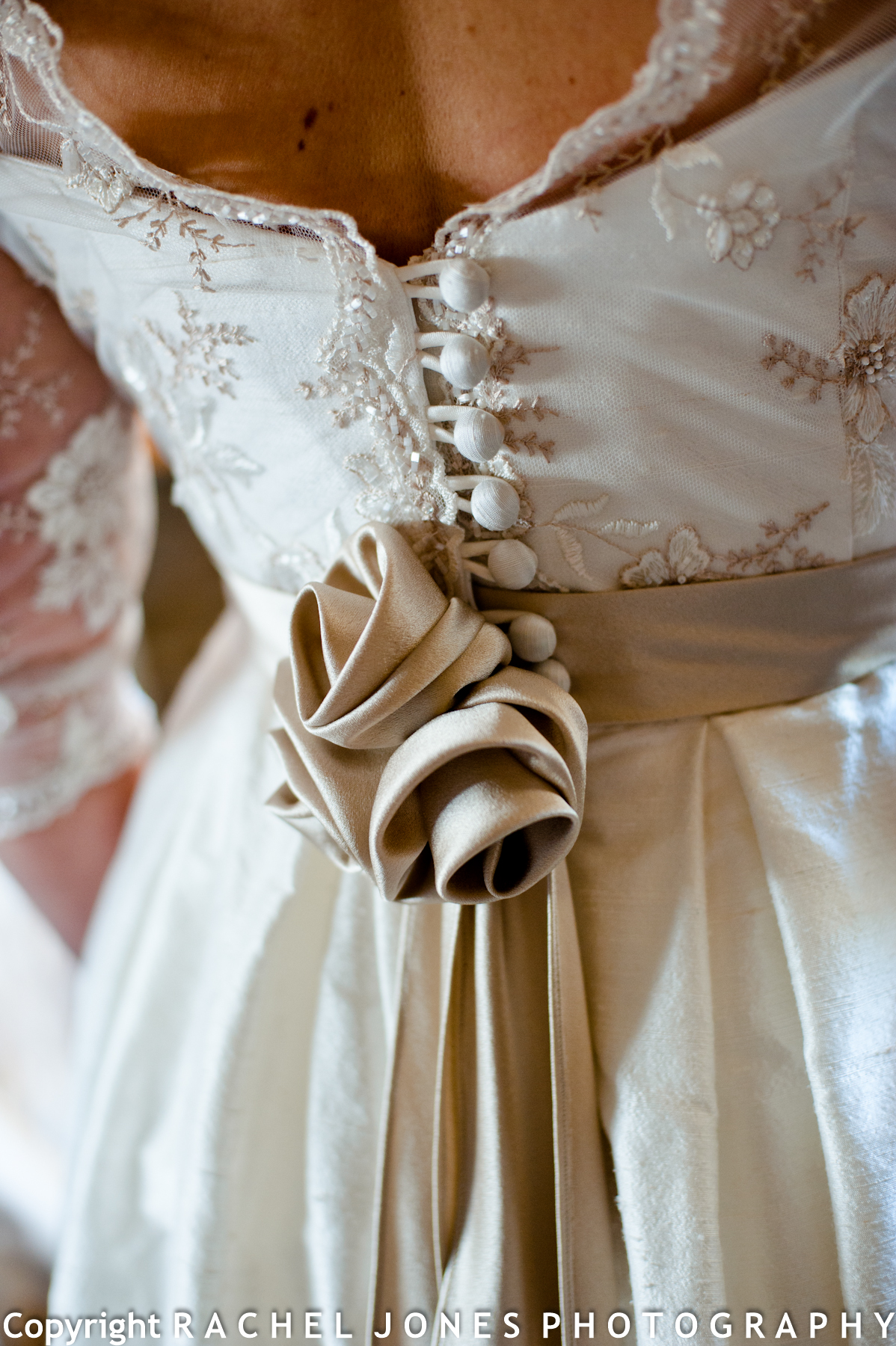 Some lovely details on Anna's dress by Freja Designer Dressmaker, Edinburgh