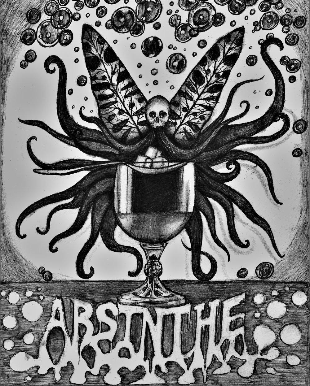 (Absinthe) pen on paper