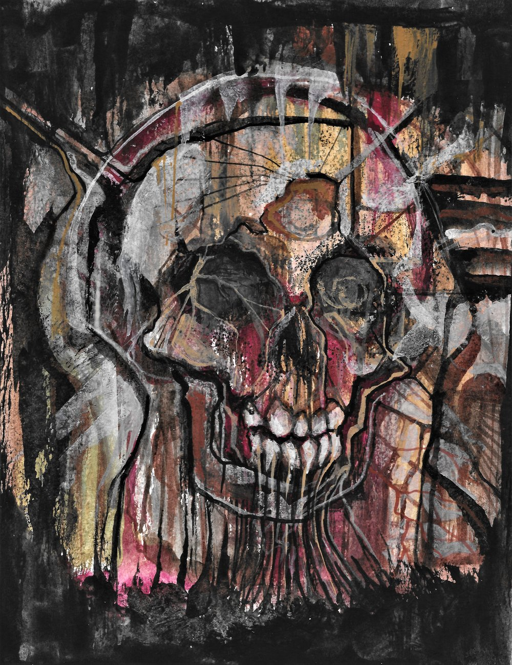 (Study of skull) ink and watercolor on paper