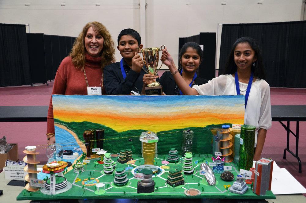 Shriya Punati, Pallavi Kandipati and Pranav Iyer of Forest Park Middle School won first place for Jivana.