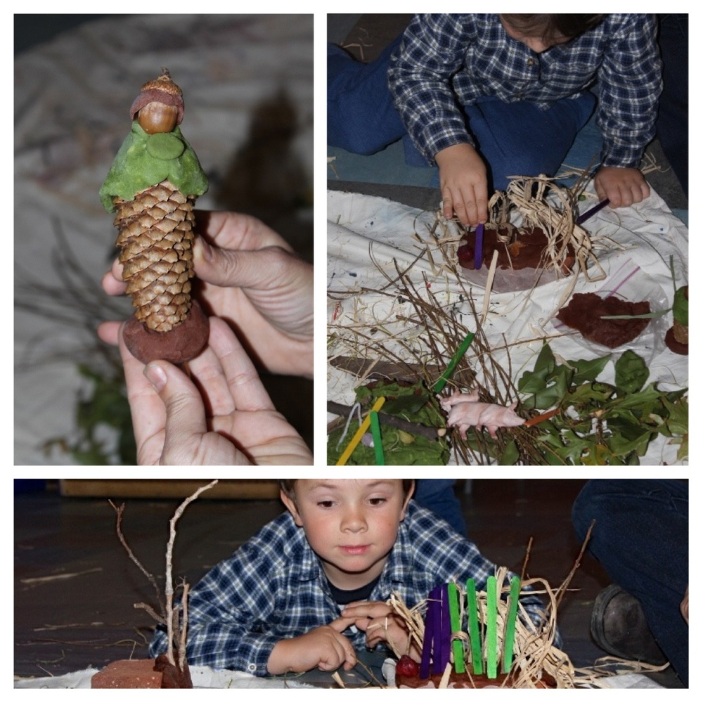 Sticks and straw build a fortress of walls with a little interior space hidden within. His mother is inspired to create a doll out of a pinecone as they work together side by side.