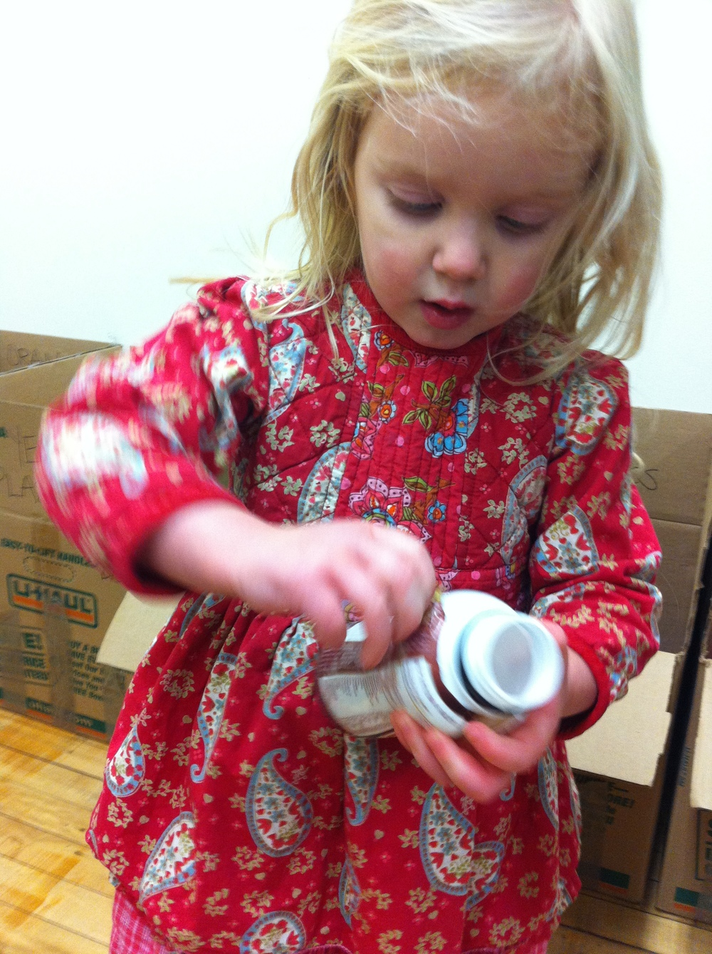 Willa, 2, is my go-to Label Taker Offer (and crayon paper-taker-offer). She's beautifying a white plastic container so that it can live inside the box of WHITE PLASTIC, until the Materials Day rocks Brooklyn on April 18.