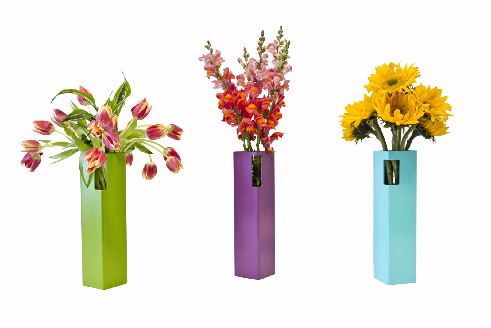 Brightly Colored Steel Vases by Michael Daniel Metal Design