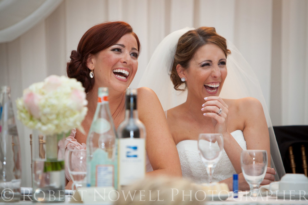 laughing bride, wedding reception, John Michael's Banquet Hall