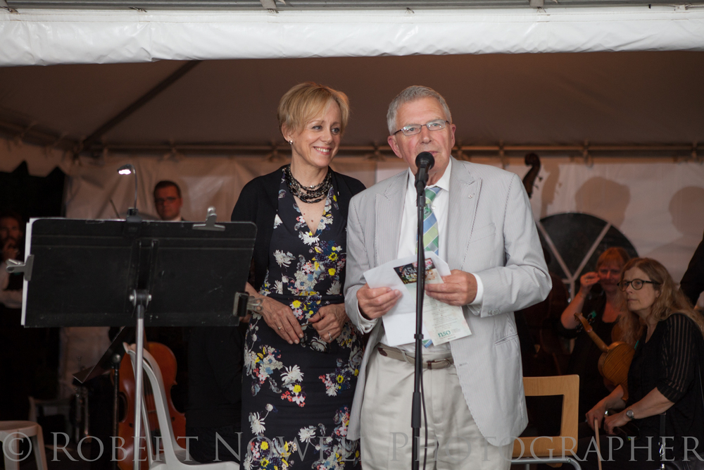 Shaw Festival actors Fiona Reid and Christopher Newton tie up the evening's festivities.