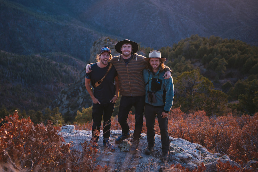 Woodward, Lowe, and Post stand atop the brow of New Mexico's Manzano Mountains in the last rays of light on the last day of filming for  Sky Migrations .