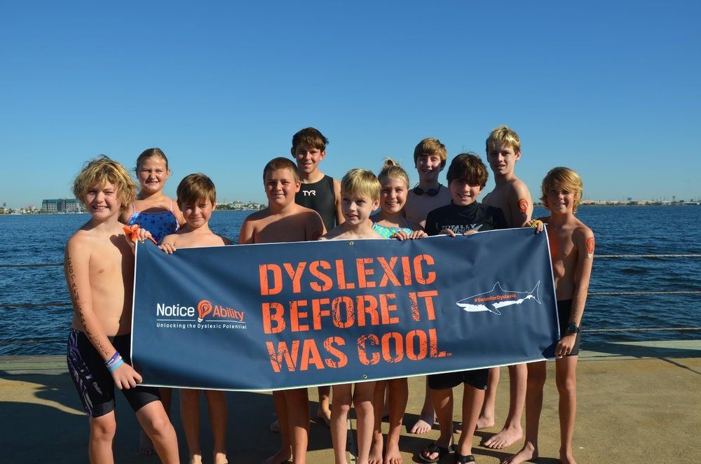 The Kids Swim For Dyslexia Open Water Relay in Galveston Bay, October 2016. Many of these swimmers will make up the team attempting for the 30 mile Galveston Coast.
