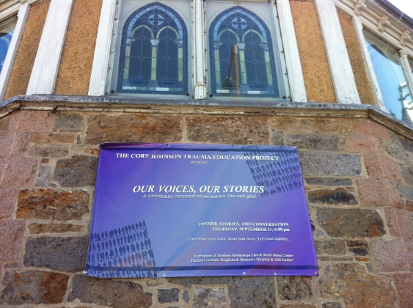 "Banner welcoming community members to the first ""Our Voices, Our Stories"" community event at Roxbury Presbyterian Church."