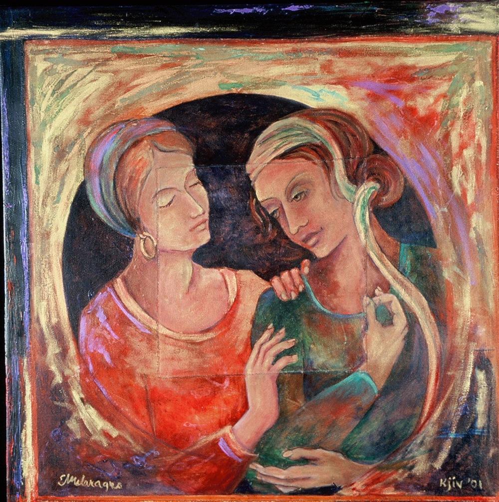 """Kjiv 2001,""Oil, Mixed Media on Canvasby Elissa Melaragno"