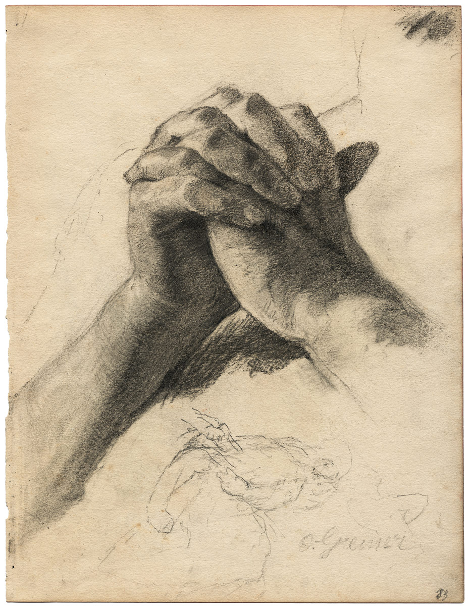 Hands in prayer by Otto Greiner, c. 1900