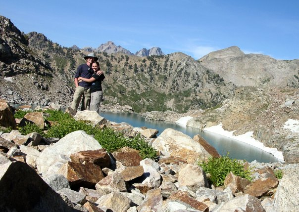 Our engagement photo! Dan and I at Mica Lake in Grand Teton National Park (2009). Photo by a pika.