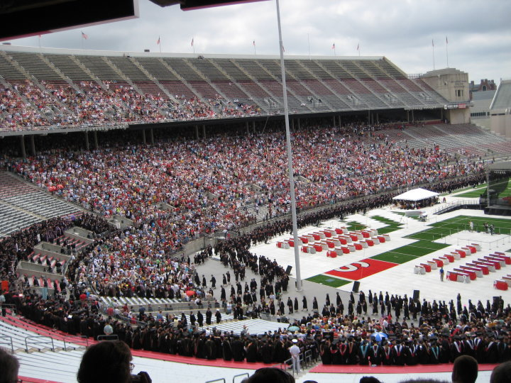 Filing in for the graduation ceremony in the Shoe (2010).