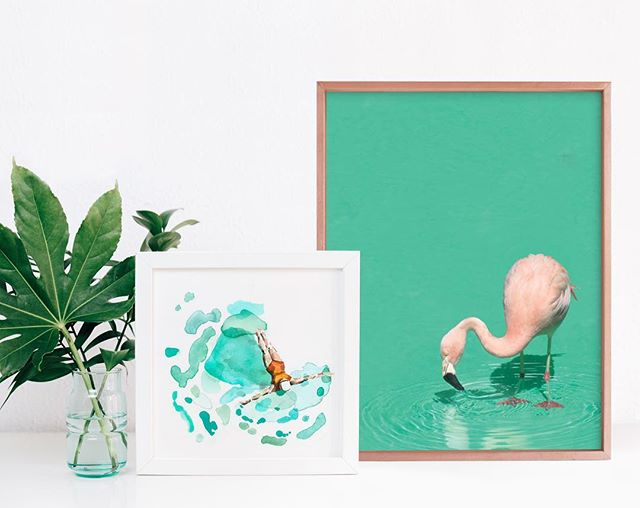 Summer Vibes ☀️ Bird Bath by Pine and Lark paired with Float by @bettyhatchett available @minted #summervibes #summerart  #flamingo #flamingoart #flamingotheme #swimmer #swimart