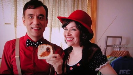 Carrie Brownstain and Fred Armisen's characters in Portlandia offering to put a bird on your bread (via toasting, of course).