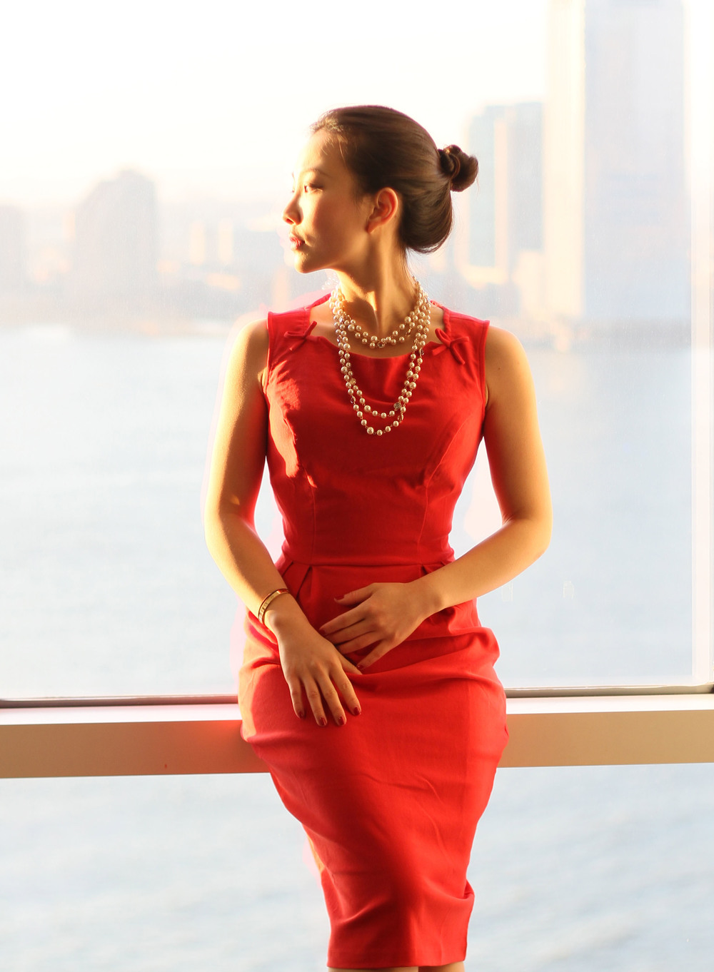 Red fitted dress.jpg