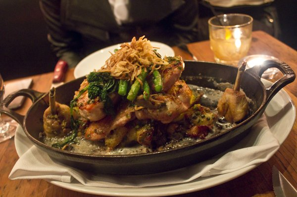 Most famous dish on the menu, Bell & Evans Chicken Under a Brick, Yukon Potato, Broccoli Rabe, Pan Drippings