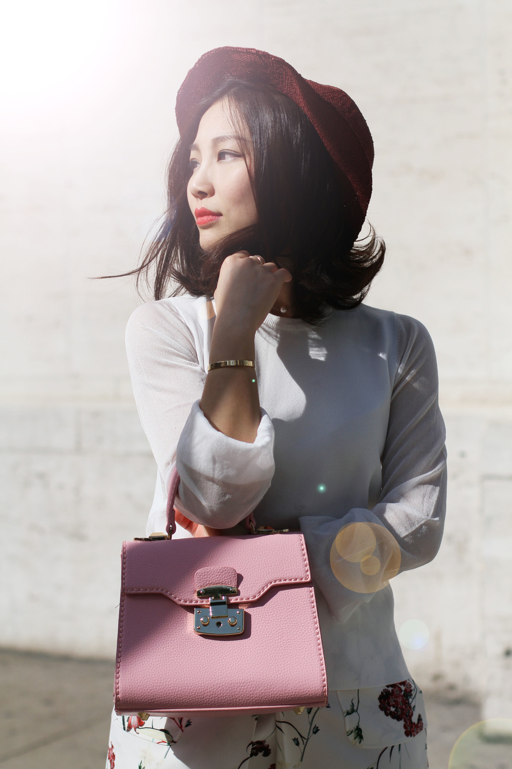 Pink floral outfit pink lady bag.jpg