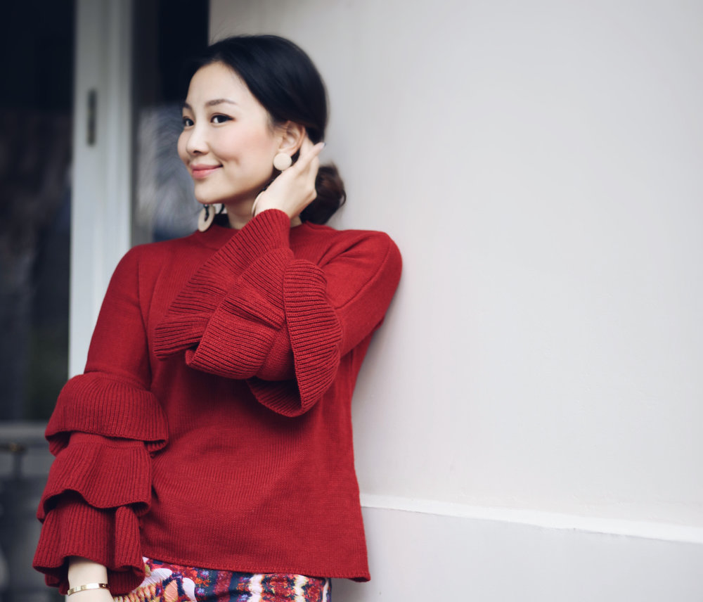 red ruffle sleeves sweater.JPG