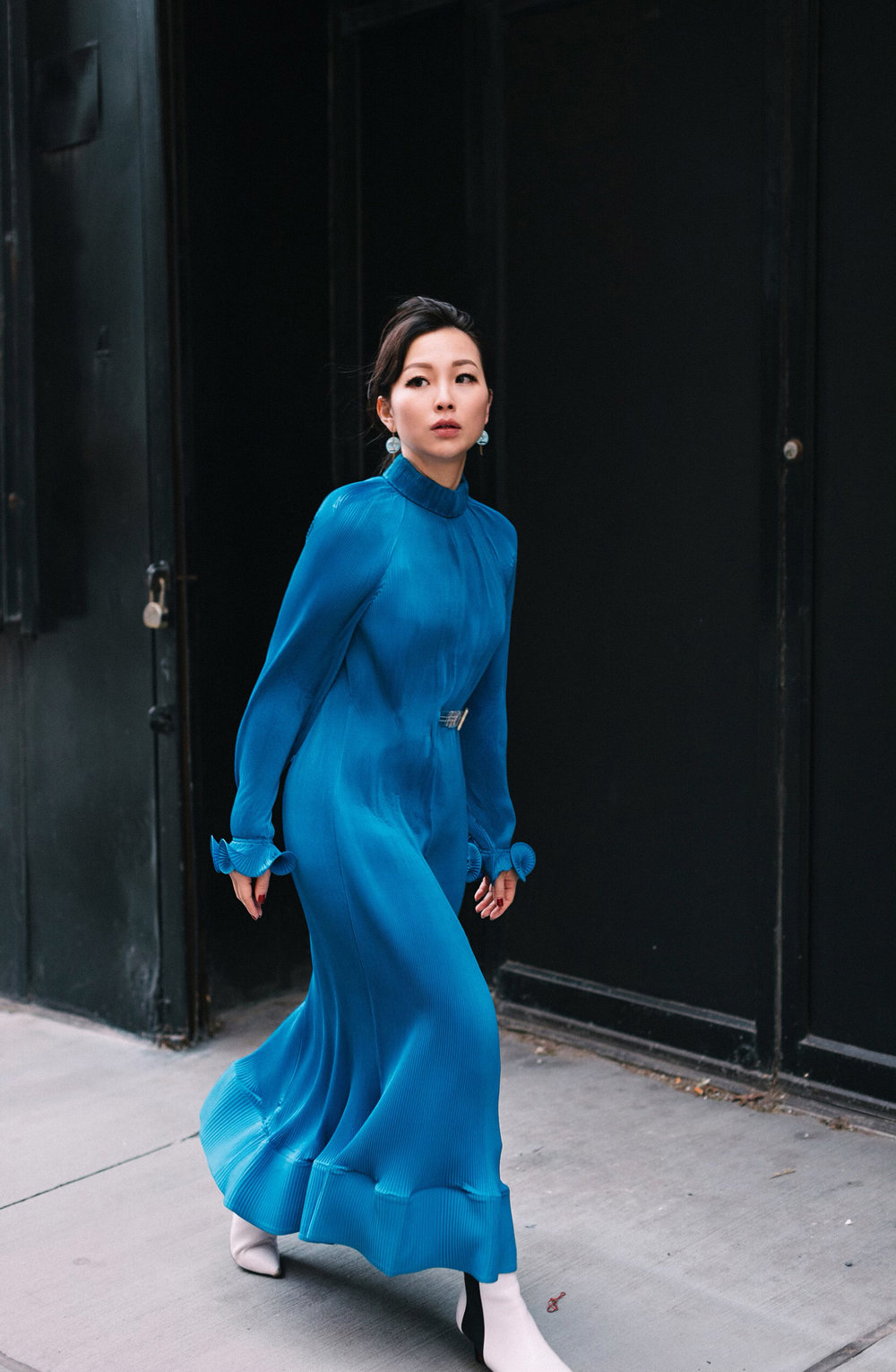 Tibi - PLEATED DRESS WITH REMOVABLE BELT