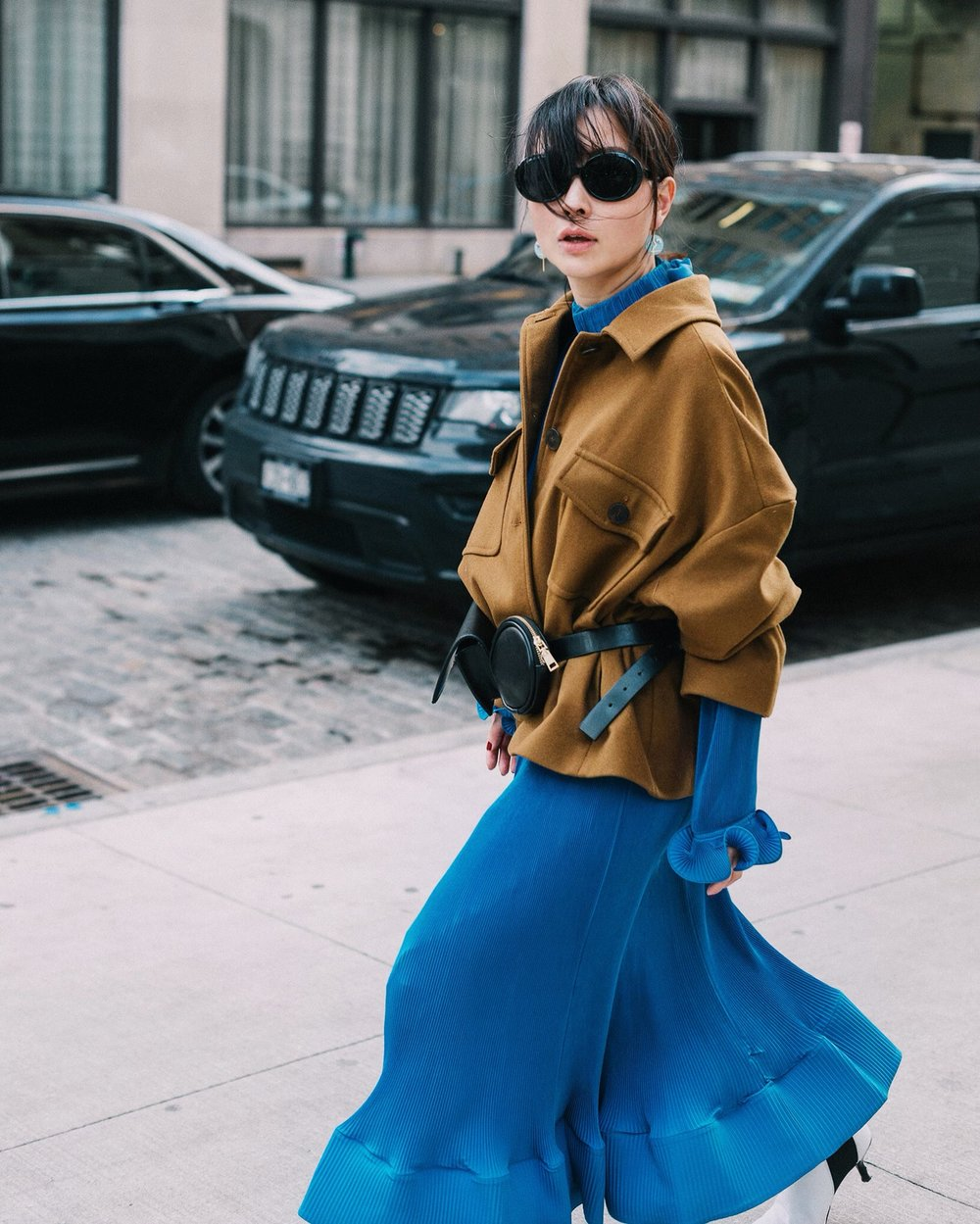 NYFW 2019 - layered with a cropped wool jacket & a belt bag