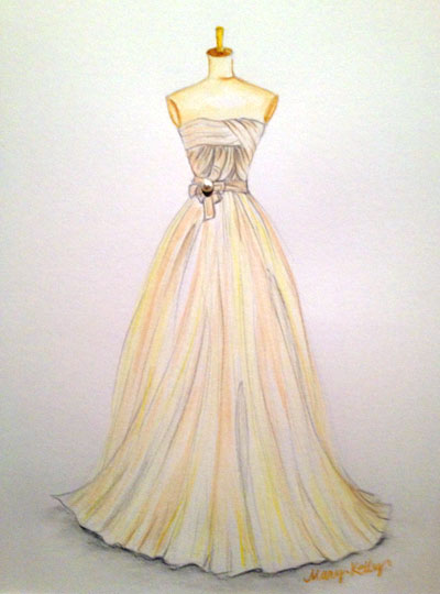 cream dress with pearl, mary kelly designs © 2017