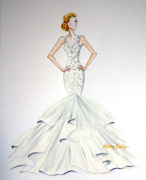 Mixed media illustration, justin alexander gown, mary kelly designs © 2016