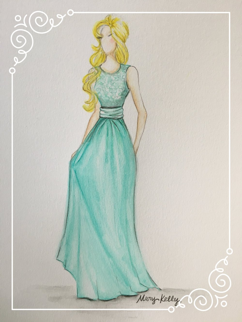 green bridesmaid gown, mary kelly designs © 2018