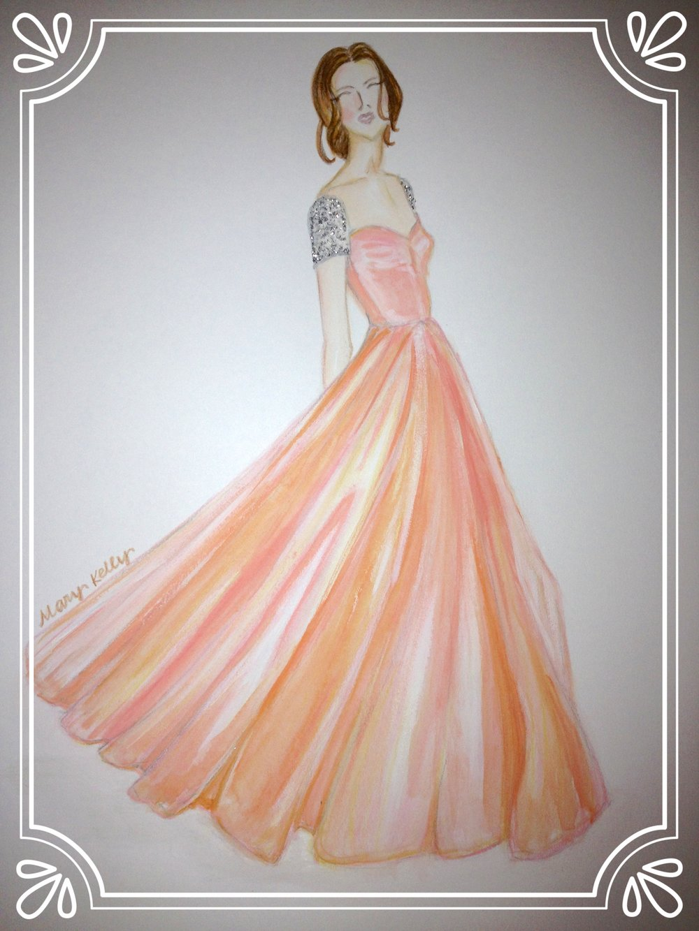 peach dress with bling sleeves, mary kelly designs © 2018